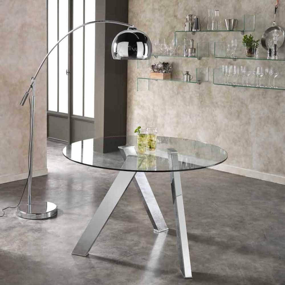 Młodzieńczy Okrągły stół do jadalni Adamo z szklanym blatem, design OV32