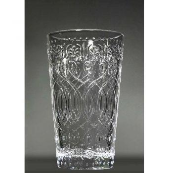 12 zdobionych przezroczystych szklanych szklanek do napojów - marokobowy