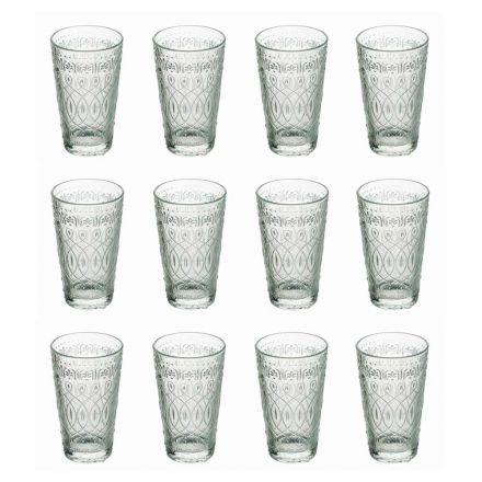 12 szklanek do napojów z dekorowanego przezroczystego szkła - marokobowy