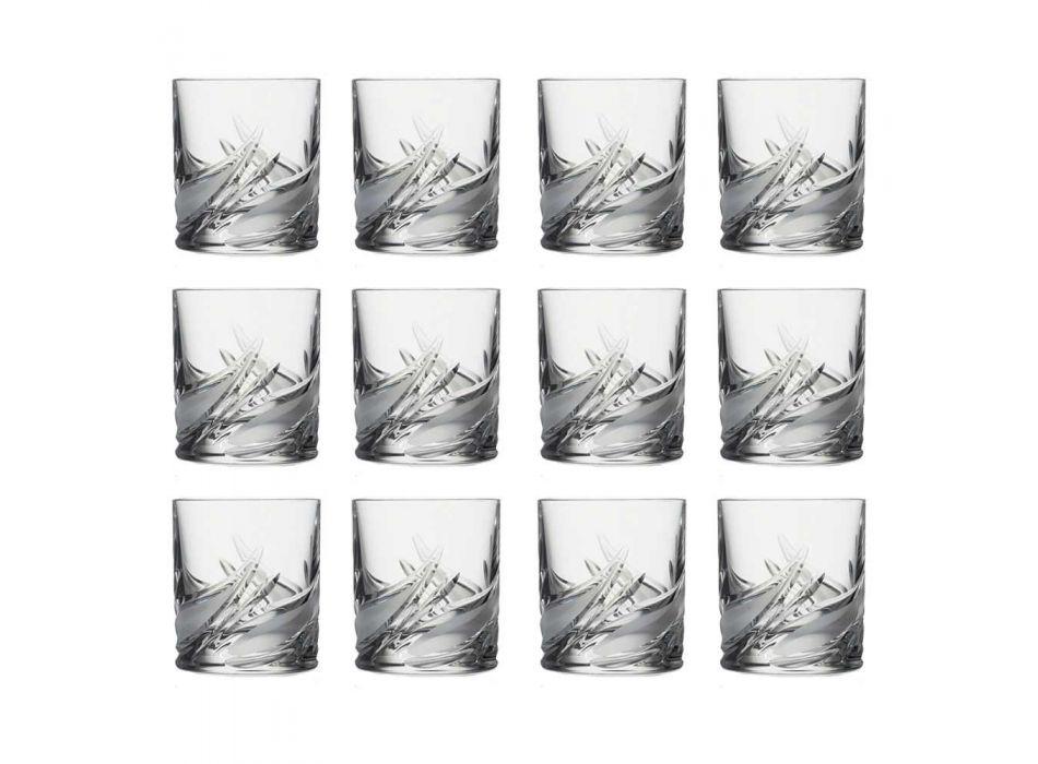 12 podwójnych staroświeckich szklanek do whisky z niskimi kryształami - Adwent