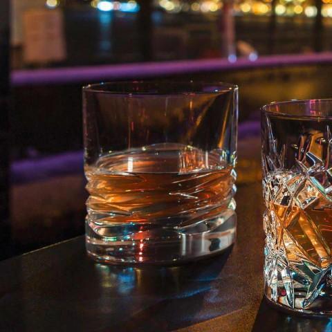 12 kryształowych szklanek Wave Decor do whisky lub Dof Tumbler Water - Titanium