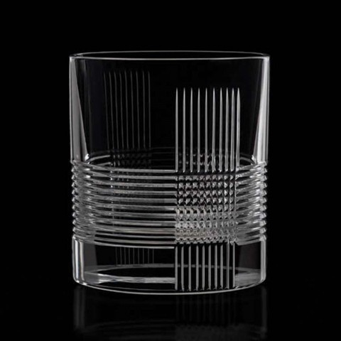 12 szklanek do wody lub whisky w stylu vintage z ozdobnego kryształu - dotykowy