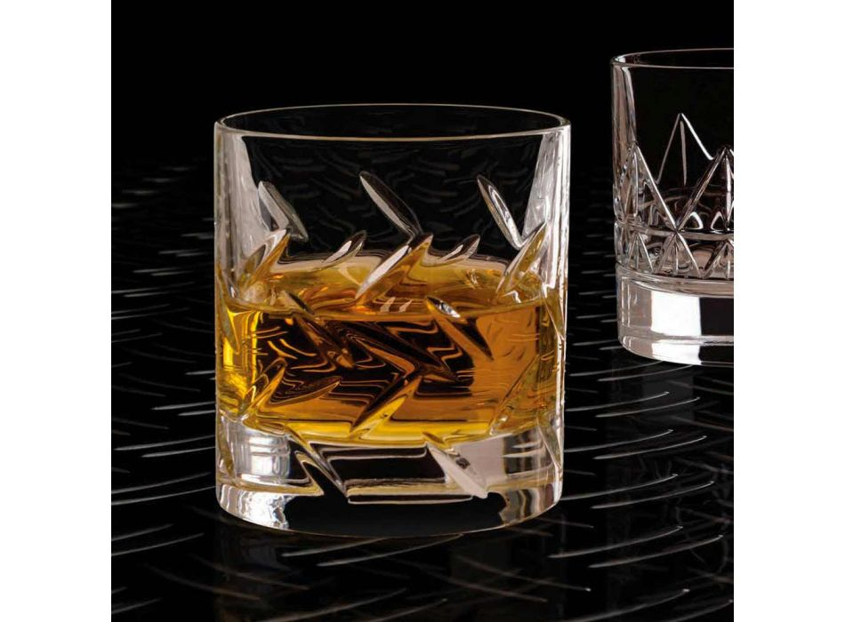 12 szklanek do whisky lub wody z ekokryształu z nowoczesnymi dekoracjami - arytmia