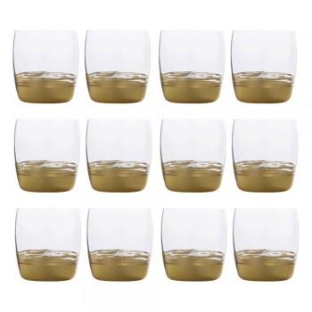 12 niskich szklanek do wody ze złotymi, platynowymi lub brązowymi liśćmi - Soffio