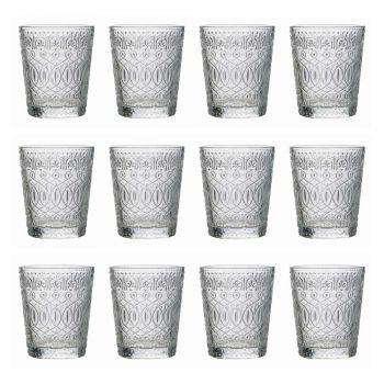 12 szklanek do wody w dekorowanym przezroczystym szkle - marokobowy