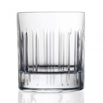 12 szklanek do whisky lub kryształów z luksusową dekoracją liniową - arytmia