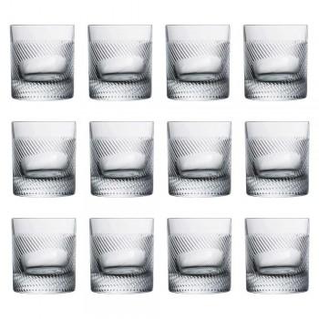 12 szklanek do whisky lub wody w stylu vintage zdobionym ekokryształami - dotykowe