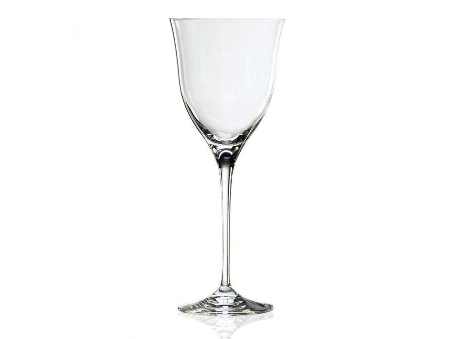 12 kieliszków do białego wina w ekologicznym kryształowym minimalnym luksusowym stylu - gładkie