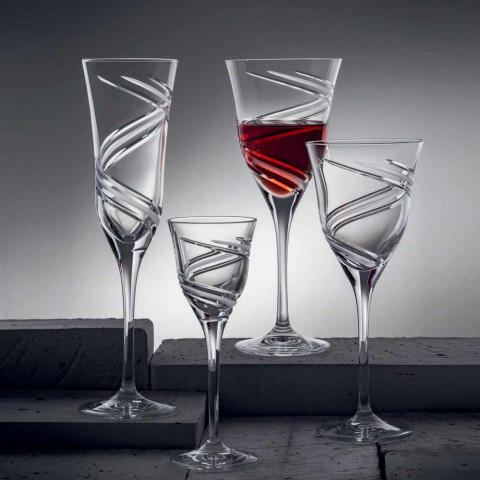 12 kieliszków do szampana z innowacyjnym dekorowanym ekologicznym kryształem - cyklonem