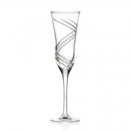 12 kieliszków do szampana z ozdobnym ekologicznym kryształem Made in Italy - Cyclone