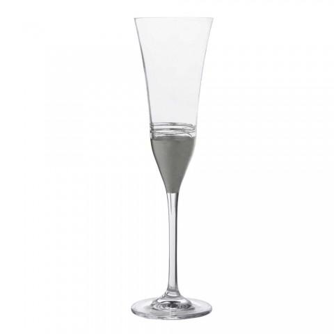 12 kielichów z kryształowym fletem z luksusowym złotym brązem lub platynowym liściem - Soffio