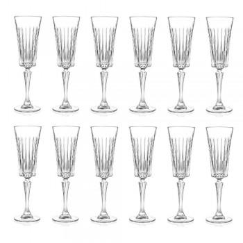 12 kieliszków do wina musującego z dekoracją z nacięciami liniowymi w kolorze Eco Crystal - Senzatempo