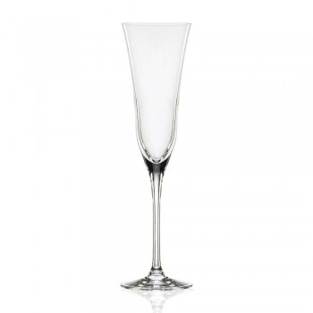 12 kieliszków fletowych w ekologicznym luksusowym kryształowym minimalistycznym stylu - gładkie