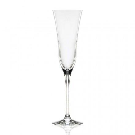 12 kieliszków fletowych z ekologicznego luksusowego kryształu, minimalistyczny wygląd - gładki