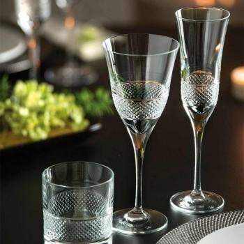 12 kieliszków do szampana z kryształem ekologicznym z ręcznym zdobieniem - Milito