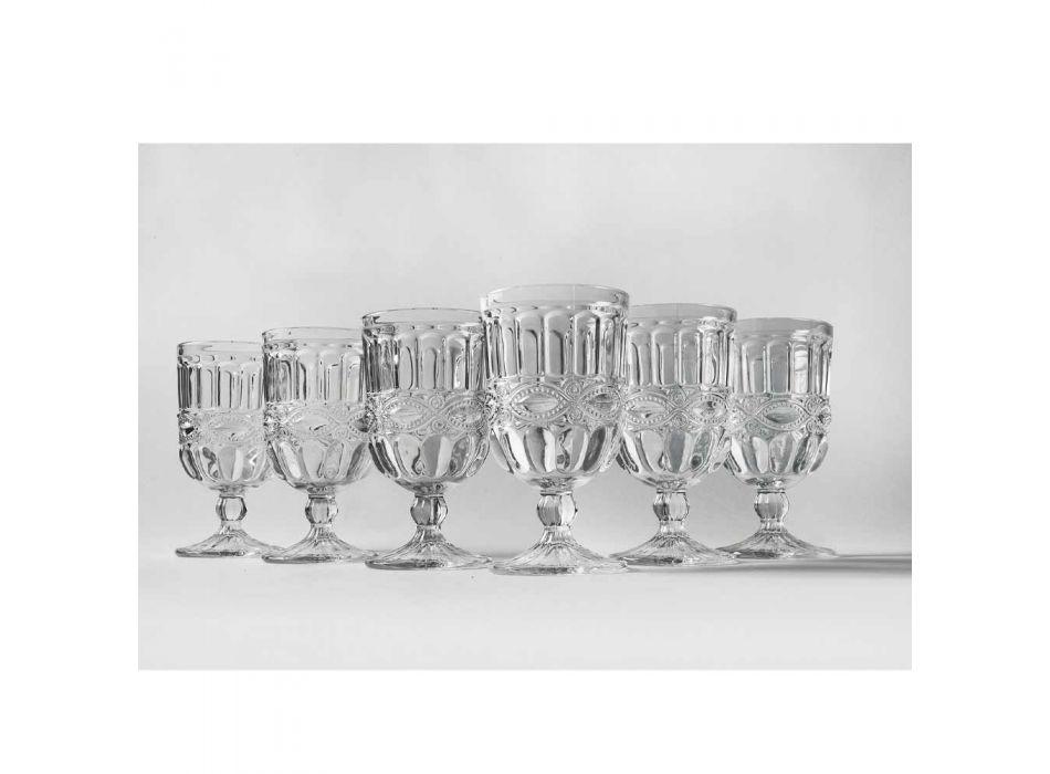 12 przezroczystych i zdobionych szklanych kielichów na świąteczny stół - Garbobic