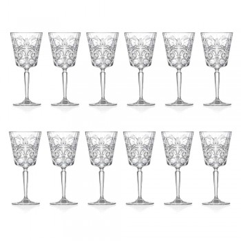 12 szklanek do wody, napojów lub koktajli w dekorowanym Eco Crystal - Destino