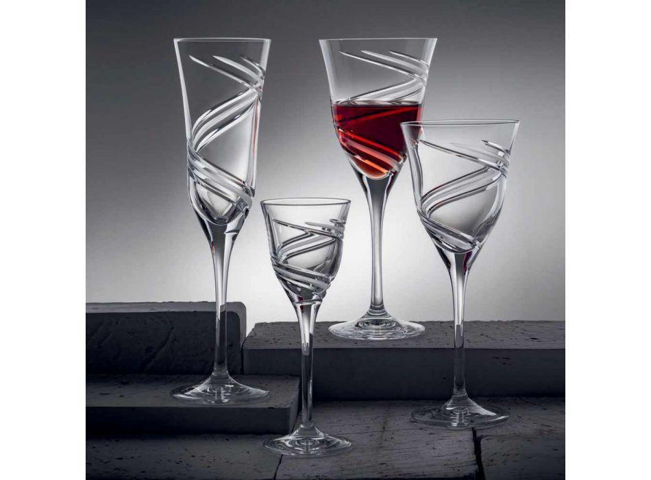 12 kieliszków do białego wina z ozdobnego i satynowego ekologicznego kryształu - cyklon
