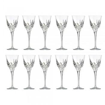 12 luksusowych kieliszków do białego wina w ręcznie zdobionych Eko-kryształach - Adwent
