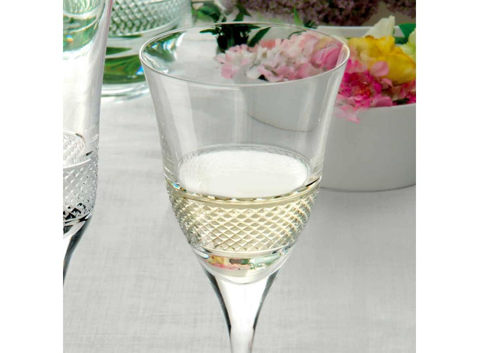 12 białych kieliszków do wina w ekologicznym, luksusowym stylu zdobionym kryształami - Milito