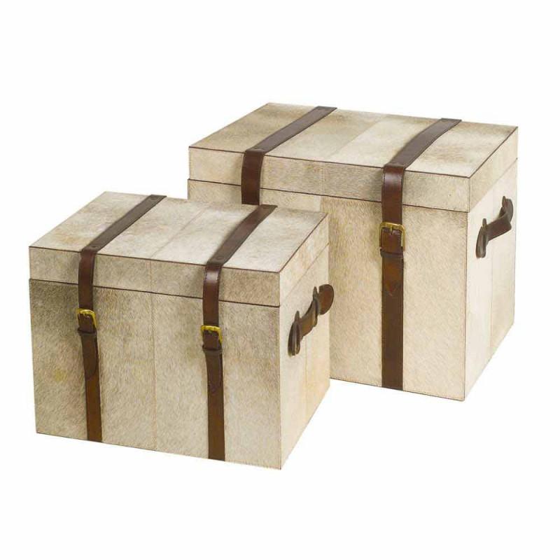 2 kufry designu w szarym kucyku Ritini, duże i małe