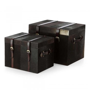 2 kufry projektu w ciemnobrązowym kucyku Ceskini, duże i małe