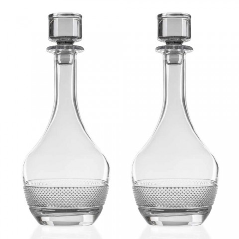 2 butelki na wino z okrągłym ekologicznym wieczkiem z ekologicznego kryształu - Milito