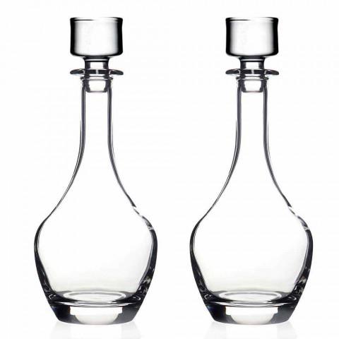 2 butelki do wina w ekologicznym kryształowym włoskim stylu minimalistycznym - gładkie