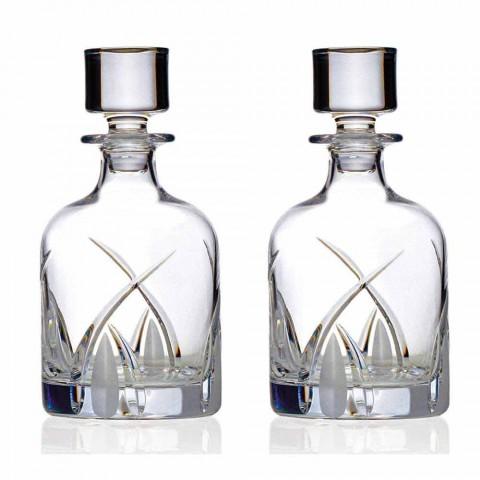2 butelki whisky z cylindrycznym wieczkiem z Eco Crystal - Montecristo