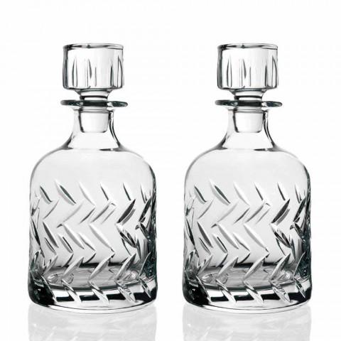 2 ekologiczne butelki kryształowej whisky z ozdobnym wieczkiem vintage - arytmia