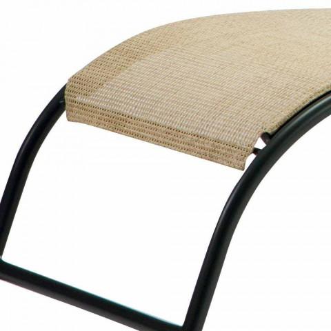 2 szezlongi zewnętrzne z metalu i tkaniny do układania w stosy Made in Italy - Perlo