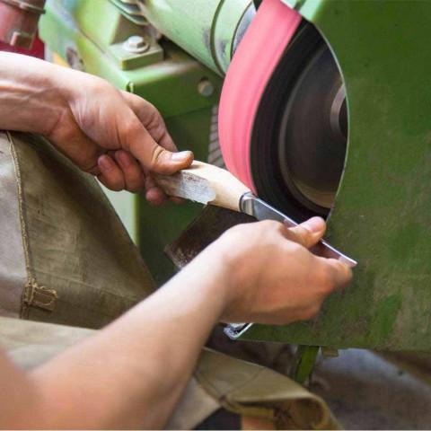 2 noże do steków z rękojeścią z rogu wołowego lub drewna Made in Italy - Marino
