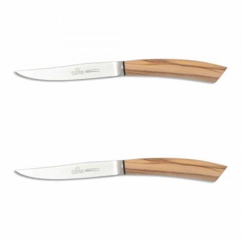 2 noże do steków z rogiem lub drewnianą rączką Made in Italy - Marino