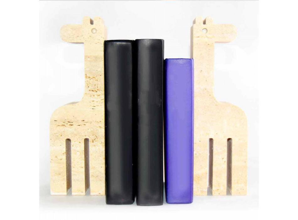 2 podpórki do książek z trawertynu w kształcie żyrafy Made in Italy - Morra