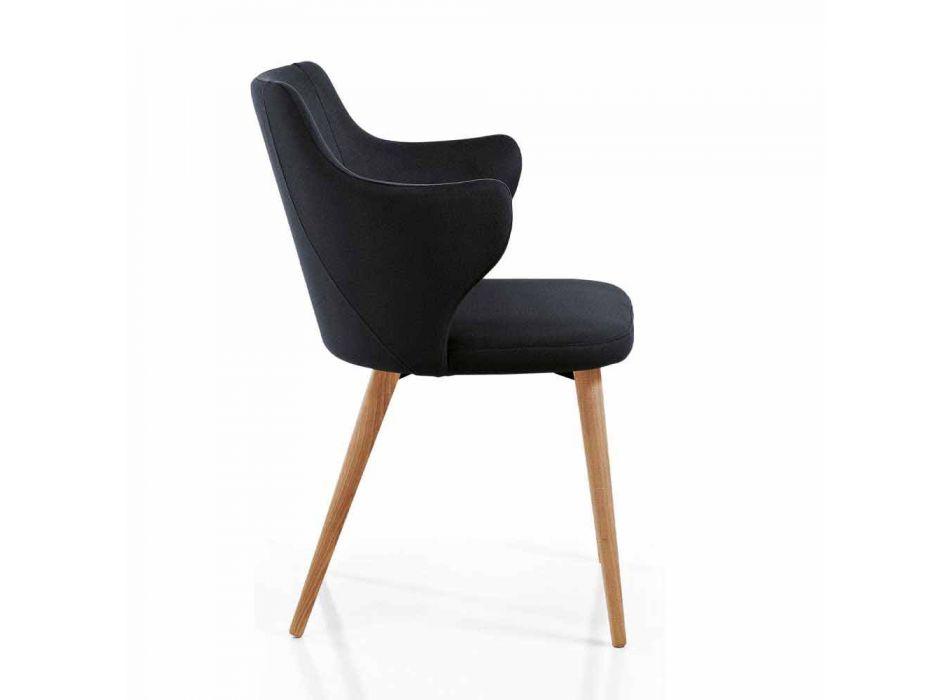 2 fotele do jadalni z kolorowej tkaniny i jesionu designerskiego - Duchessa