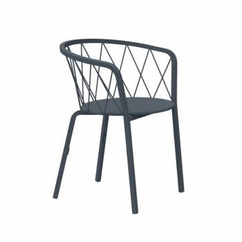 2 fotele ogrodowe z malowanego metalu do układania w stosy Made in Italy - Adia