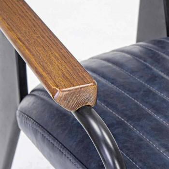 2 krzesła z podłokietnikami z imitacji skóry ekologicznej Vintage Effect Homemotion - Clare