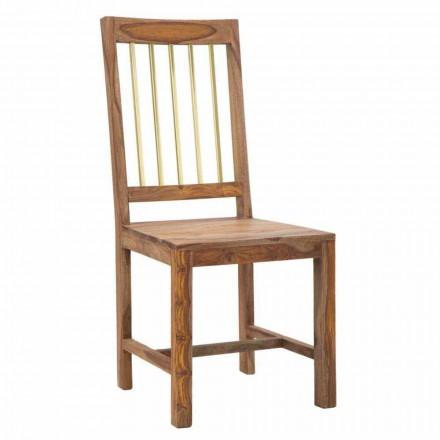 Para 2 designerskich krzeseł kuchennych w całości z drewna - Sandy