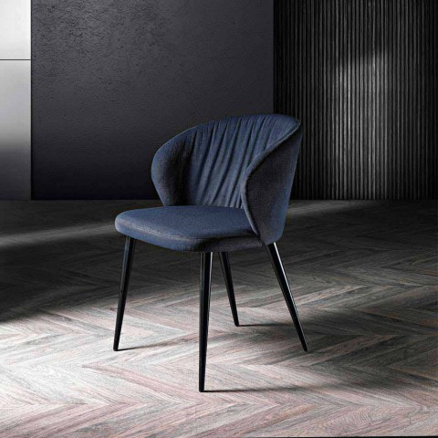 2 krzesła do salonu z tkaniny i jesionu o eleganckim designie - Reginaldo
