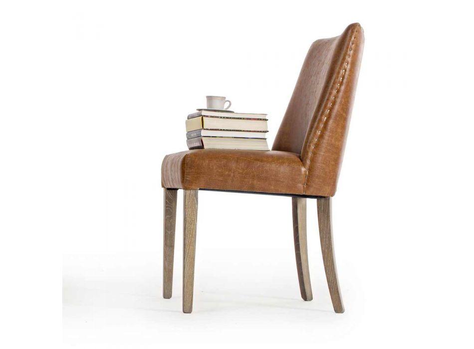 2 designerskie krzesła z brązowej skóry ekologicznej i drewna dębowego Homemotion - Gallia