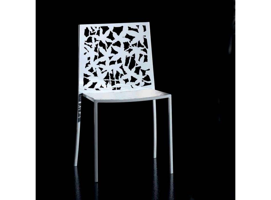2 nowoczesne, rzeźbione laserowo krzesła z białego metalu - Patatix