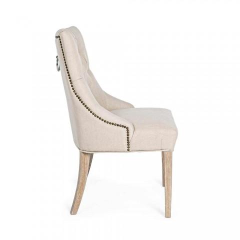 2 nowoczesne lniane krzesła ze strukturą drewna dębowego Homemotion - Barna