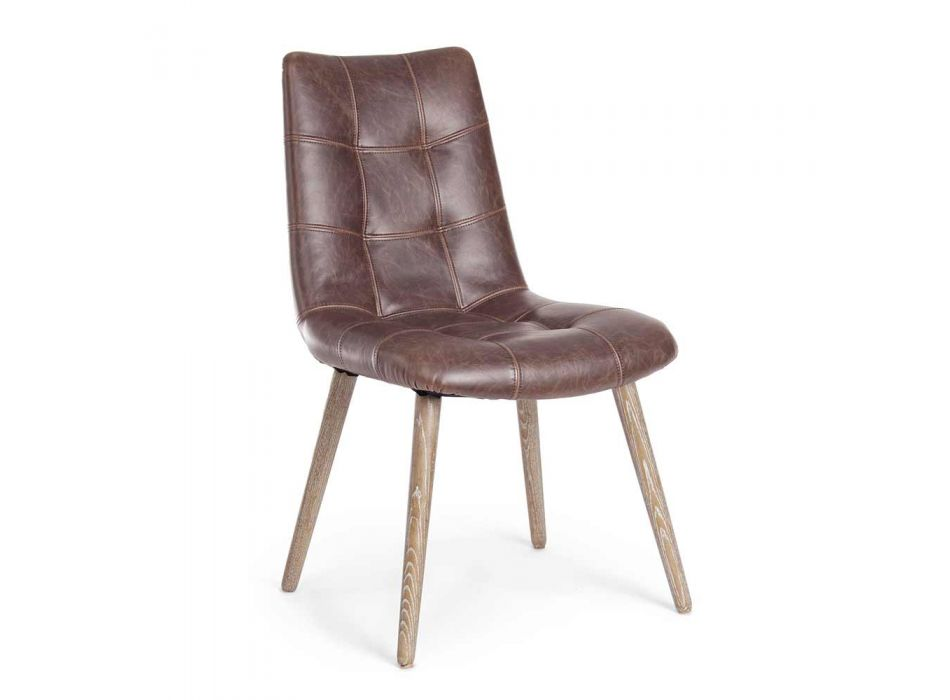 2 nowoczesne krzesła w stylu industrialnym, pokryte skórą ekologiczną Homemotion - Riella