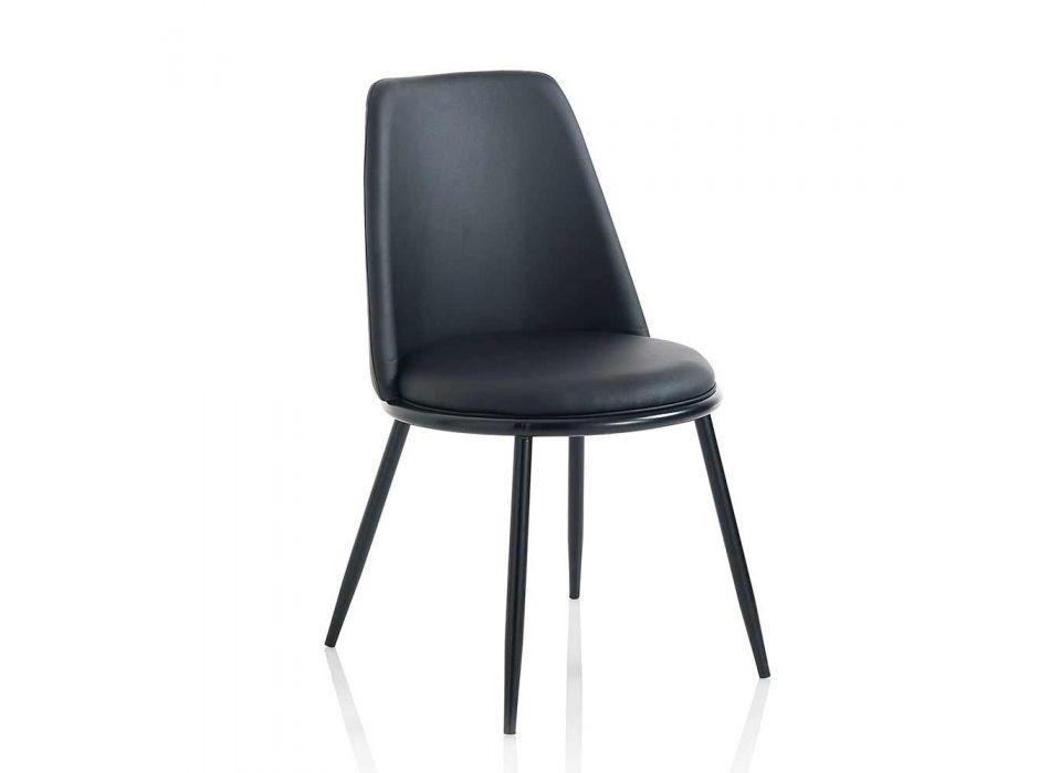 2 nowoczesne krzesła do jadalni ze sztucznej skóry i matowego czarnego metalu - Frizzi