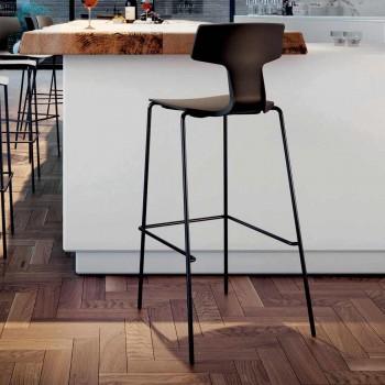 2 stołki barowe z możliwością ustawiania w stosy wykonane z metalu i polipropylenu Made in Italy - Arlette