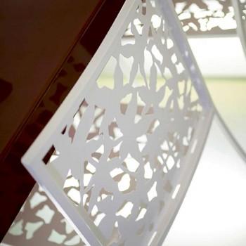 2 taborety z białego metalu wycinane laserowo w niskim lub wysokim stylu - Patatix