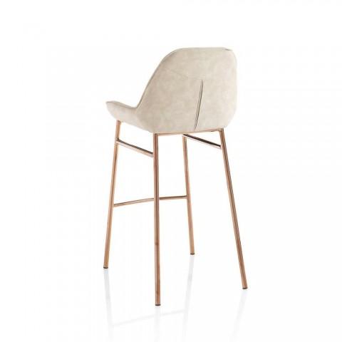 2 nowoczesne stołki metalowe z siedziskiem z mikrofibry lub imitacji skóry - Bellino