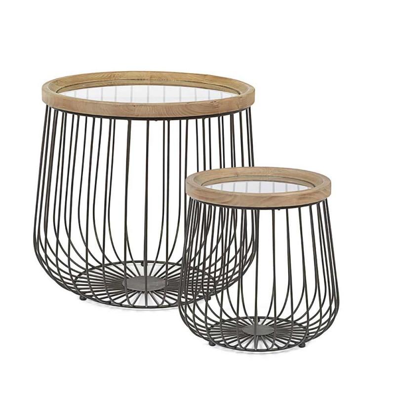 2 stoliki kawowe Homemotion z okrągłym szkłem i drewnianym blatem - Randolo