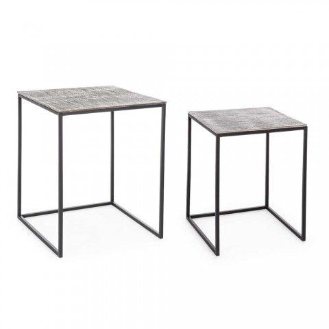 2 Stoliki kawowe Homemotion z aluminium i stali malowanej - Sereno