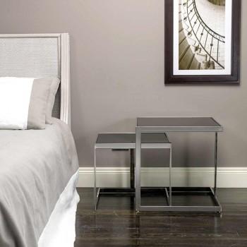 2 nowoczesne stoły do kawy ze stali ze szklanym blatem Bubbi